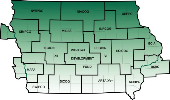 Map of Councils of Government in Iowa.