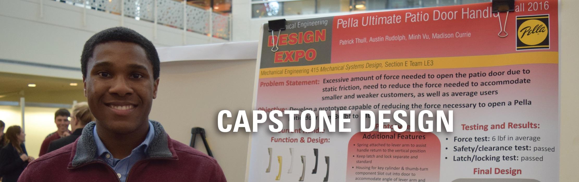 An ISU student standing next to a poster presentation: Capstone Design.