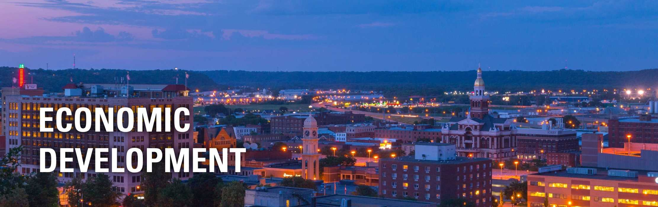 A nightscape of the City of Dubuque, Iowa: Economic Development.