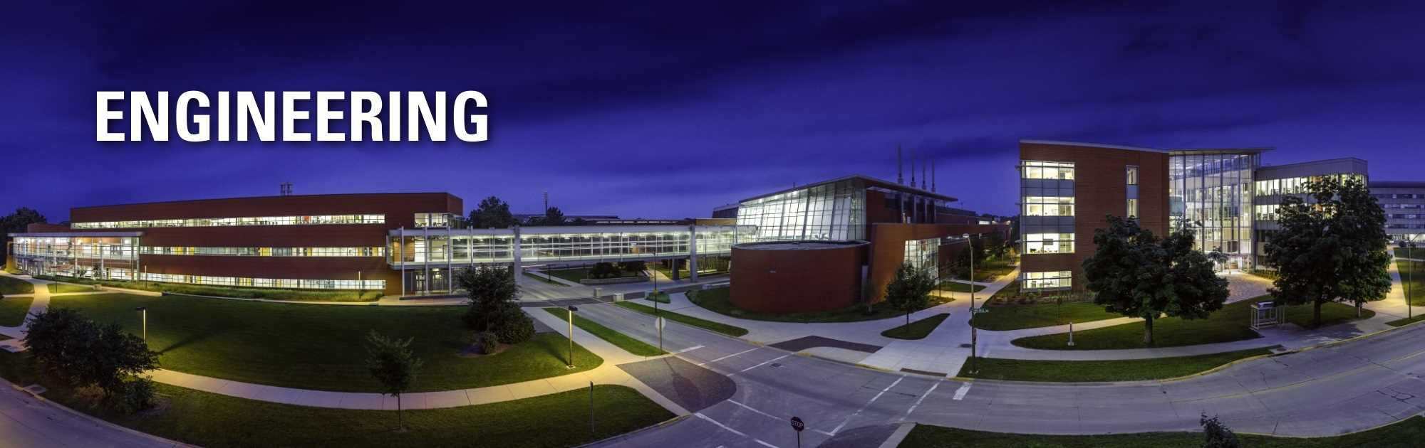 Nightview of the Iowa State University College of Engineering: Engineering.