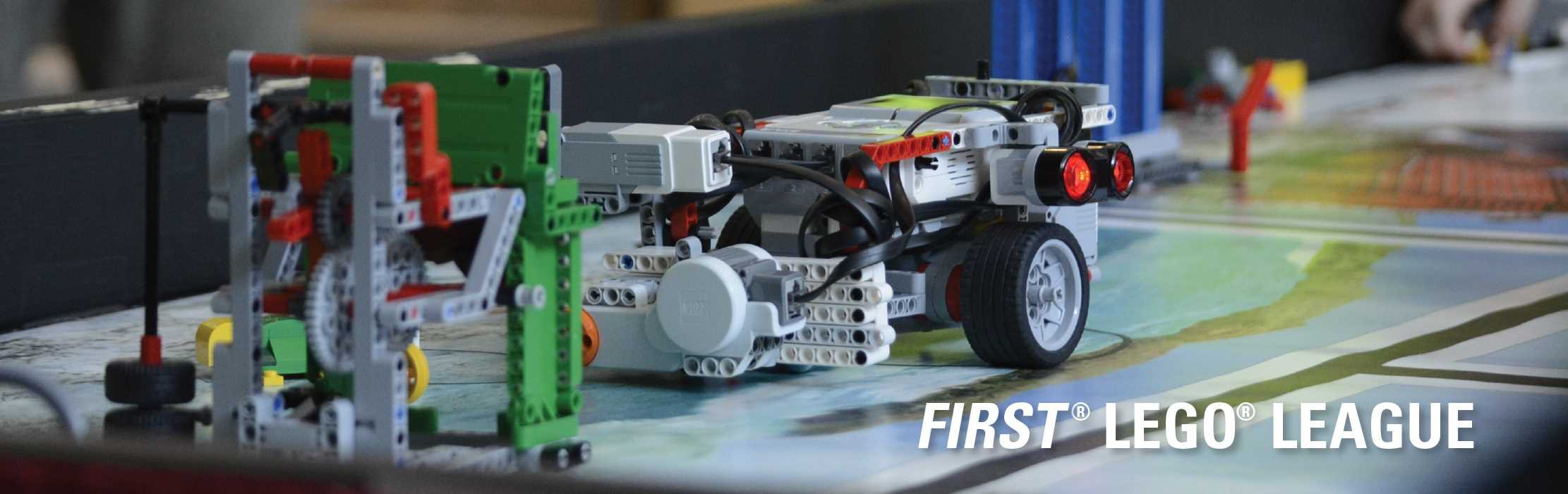 A closeup photo of a LEGO robot: FIRST LEGO League.