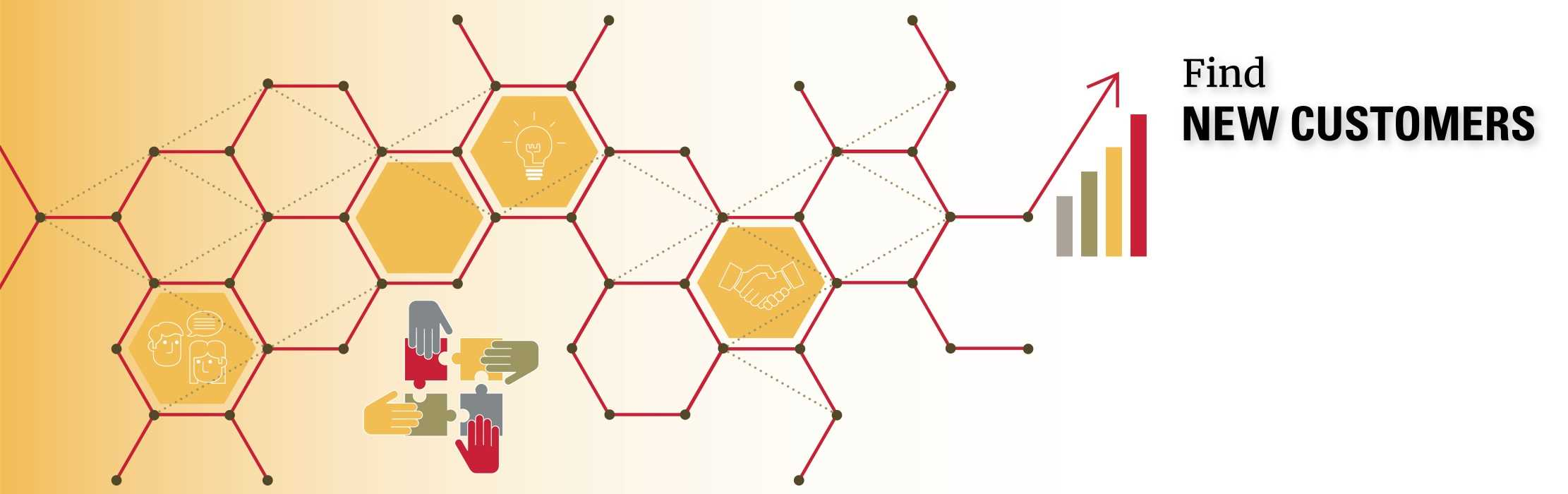 Hexagons of connections: Find New Customers.