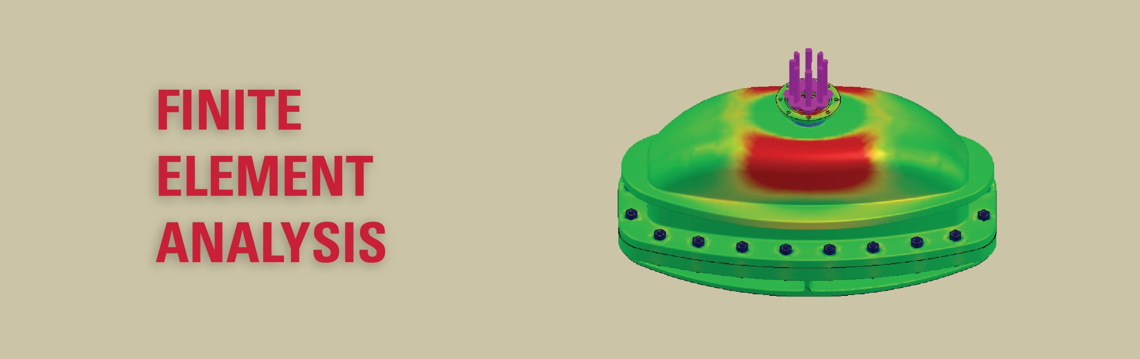 A 3D model of a mechanical component showing stress concentrations: Finite Element Analysis.