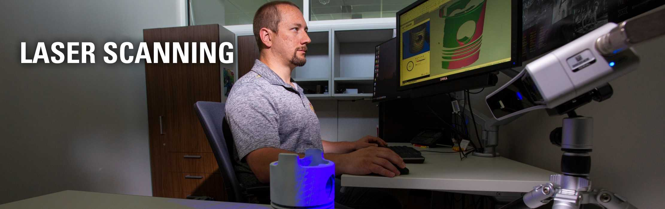 An engineer developing a 3D model of a product: Laser Scanning.