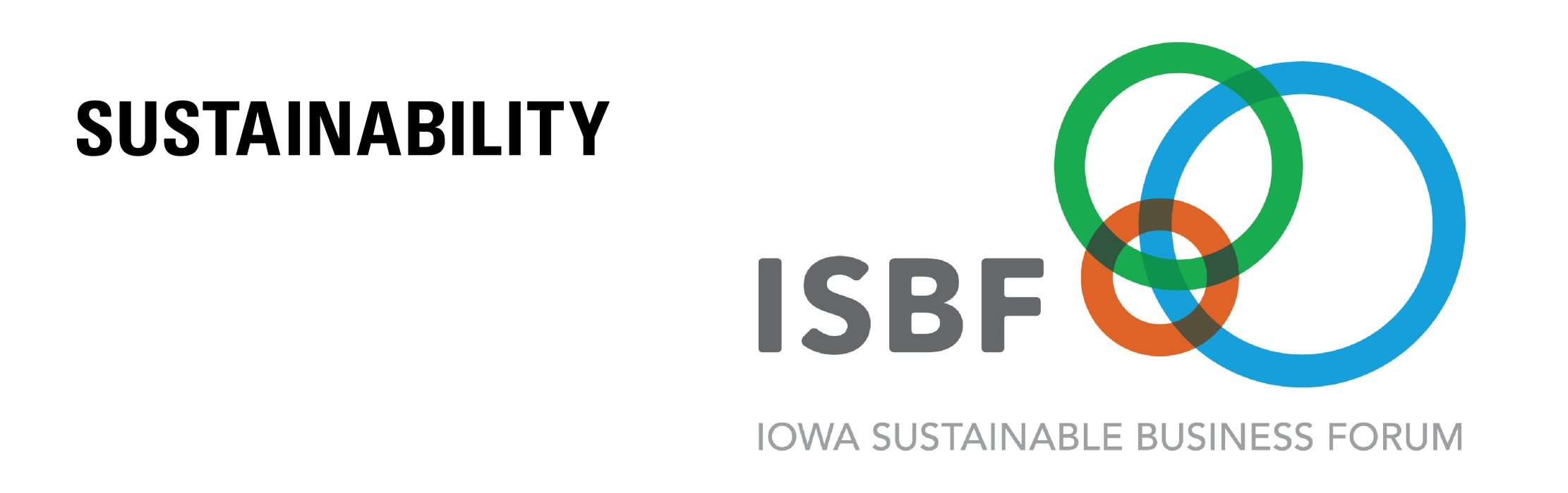 The logo of the Iowa Sustainability Business Forum (ISBF) - blue, green, and brown circles: Sustainability.